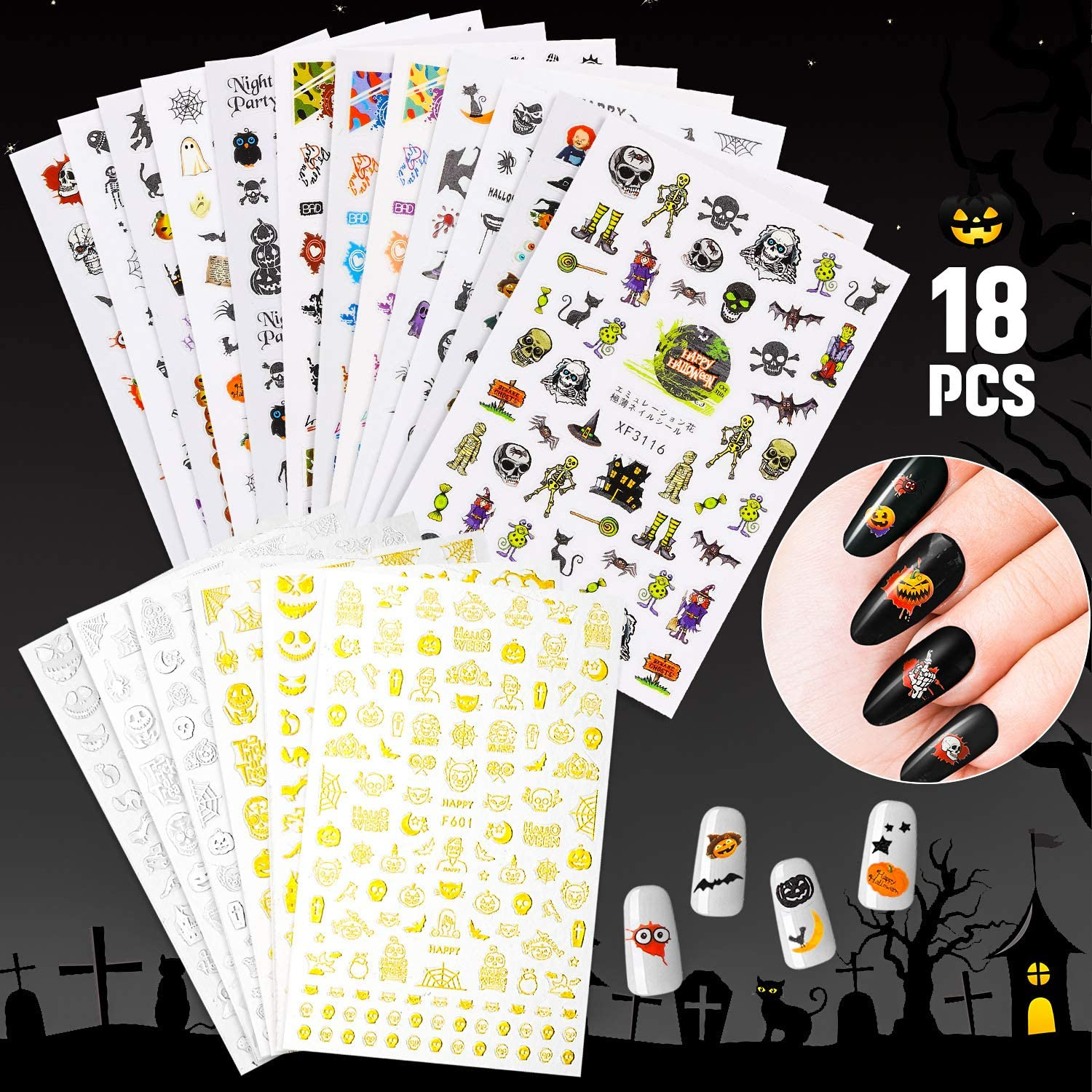 18 Sheet Halloween Nail Decals Self-Adhesive S Art Stickers ...