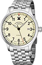 Muhle Glashutte Terrasport I Mens Automatic Pilot Watch - Ivory Face with Luminous Hands, Date and Sapphire Crystal - Stainless Steel Band Precision Watch Made in Germany M1-37-37 MB