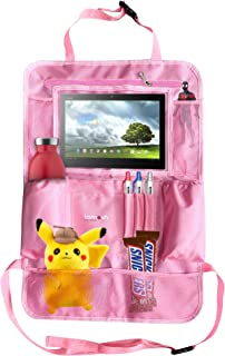 Car Back Seat Organizer for Kids & Babies w/iPad & Tablet Holder & Coloring Kit for Happy Toddlers and a Clean Backseat! Pockets for Wipes, Toys, Insulated Bottle Holder (Pink)