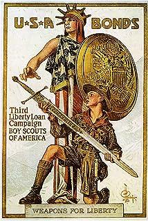 USA Bonds Boy Scouts of America Vintage World War One WW1 WWI USA Military Propaganda Poster