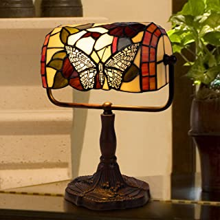 Lavish Home Tiffany Style Bankers Lamp-Stained Glass Butterfly Design Table or Desk Light LED Bulb Included-Vintage Look C...