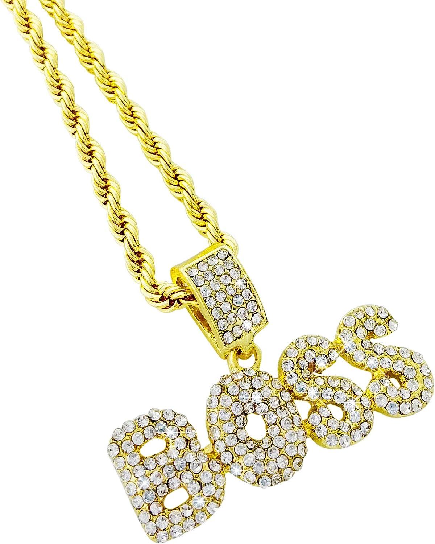 Exo Jewel CZ Diamond Bubble Word BOSS Gold Pendant with 24