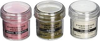 Ranger Embossing Powder Bundle - Set of 3 - Super Fine Clear, Super Fine Gold & Rose Quartz