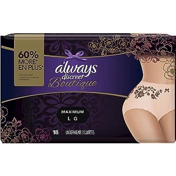 Always Discreet Boutique, Incontinence & Postpartum Underwear for Women, Maximum Protection, Peach, Large, 18 Count