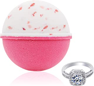 Bath Bomb with Surprise Size Ring Inside - Pink Himalayan Sea Salt Extra Large 10 oz. Bath Bombs with Jewelry - Hand Made in USA - Perfect for Spa & Bubble Bath. Great Gift for Birthday, Mothers Day