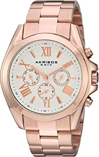 Akribos XXIV Women's Multi-Function Gold Tone Case on Gold Tone Bracelet and Peach Dial with Gold Tone Hands Watch AK951