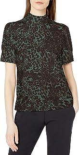 Amazon Brand - Lark & Ro Women's Florence Half Puff Sleeve Mock Neck Top