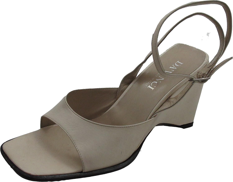 Women's Davinci Designer 1899 Leather Italian Casual Dressy Ankle Strap Wedge Sandal