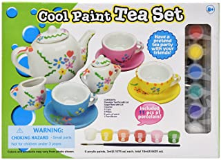 Number 1 in Gadgets Paint Your Own Tea Set, Decorate Your Own 11 Piece Set of Porcelain Dishes, Includes Six Paint Pots an...