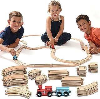Play22 Wooden Train Tracks - 52 PCS Wooden Train Set + 2 Bonus Toy Trains - Train Sets for Kids - Car Train Toys is Compat...