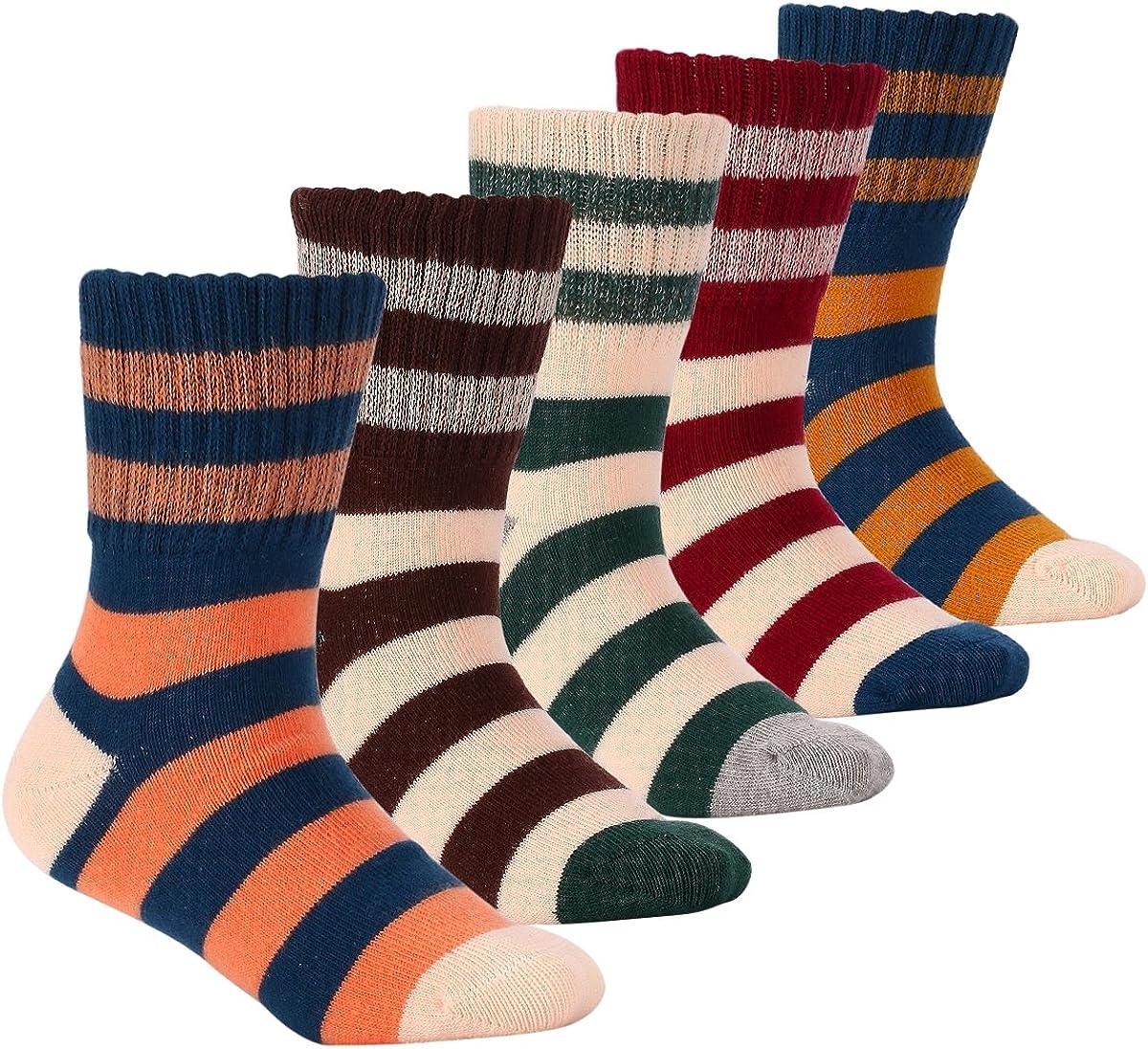 Boys Cotton Socks Kids Winter Seamless Warm Socks 5 Pack