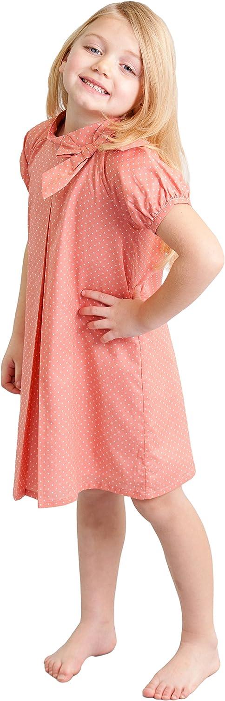 60s 70s Kids Costumes & Clothing Girls & Boys Dakomoda Girls 100% Cotton Polka Dot Pink Dress - A-Line Bow Easter Party Dress  AT vintagedancer.com