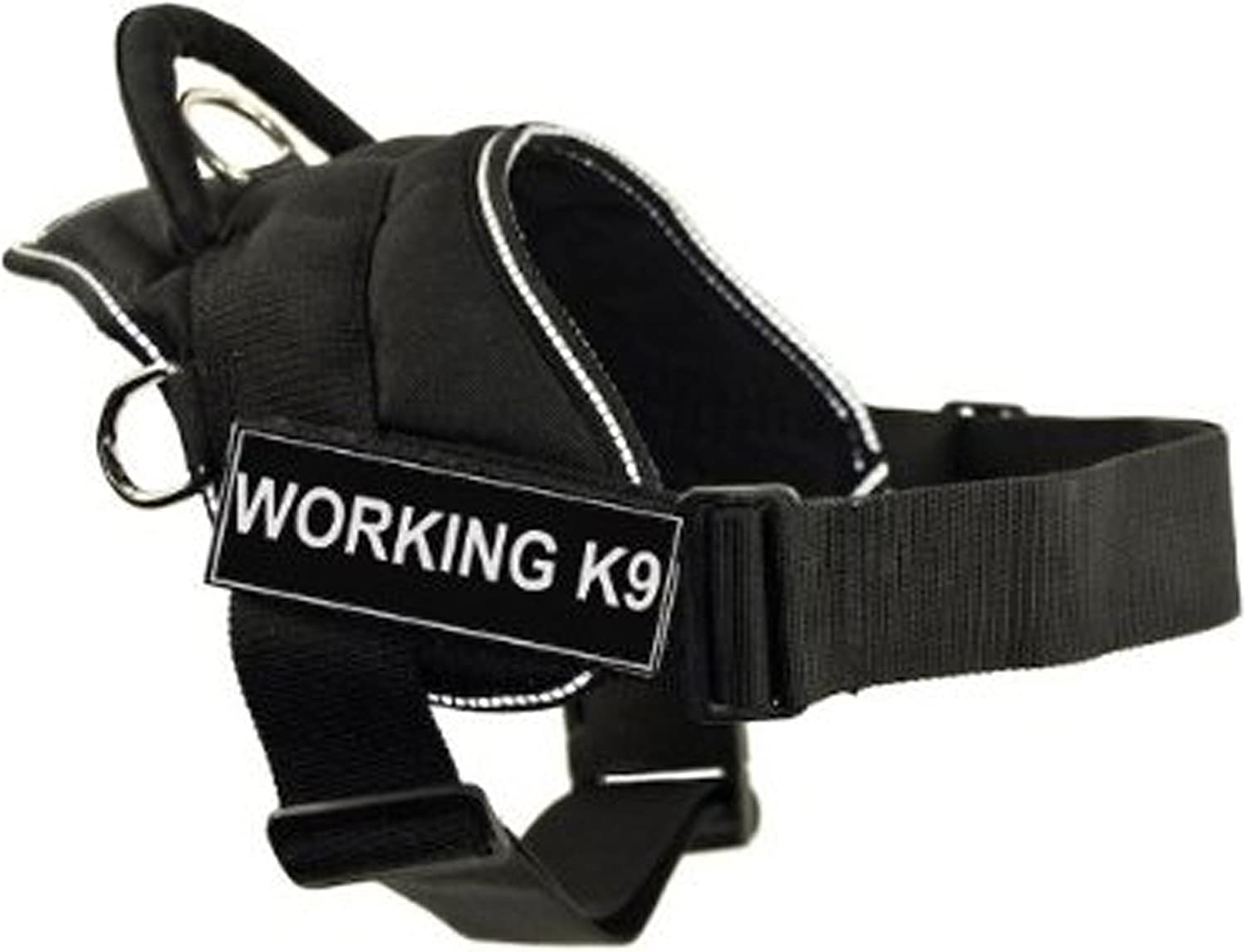 Dean & Tyler DT Fun Works Harness, Working K9, Black With Reflective Trim, XXSmall  Fits Girth Size  18Inch to 22Inch