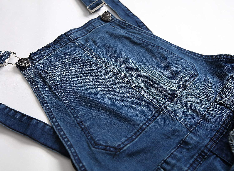 LONGBIDA Mens Denim Bib Overalls Fashion Slim Fit Jumpsuit with Pockets