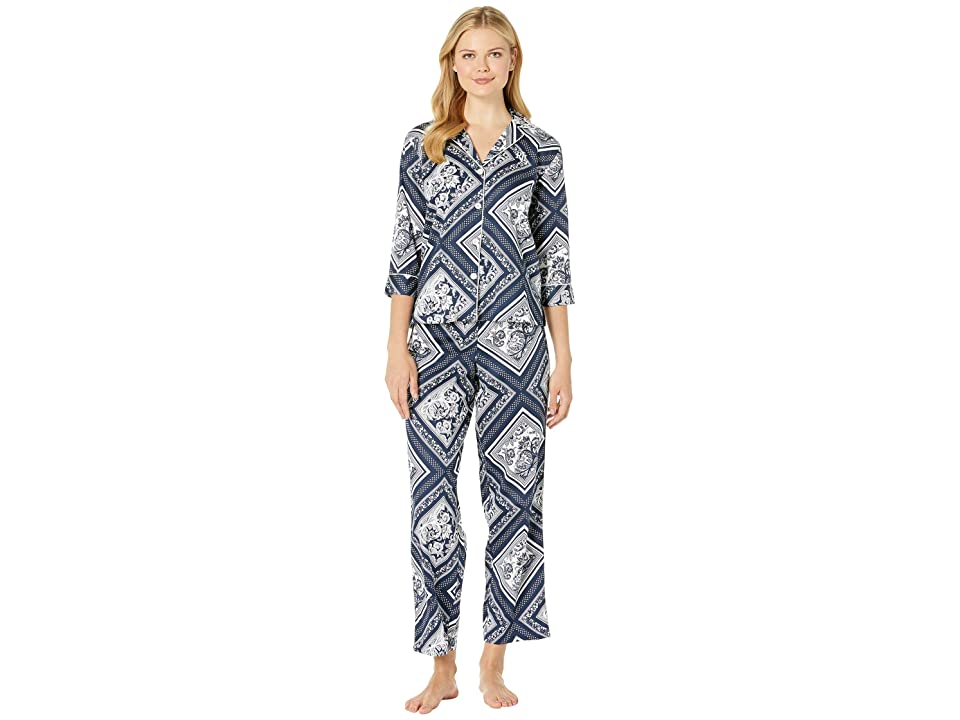LAUREN Ralph Lauren 3/4 Sleeve Pointed Notch Collar Pajama Set (Navy Scarf Print) Women