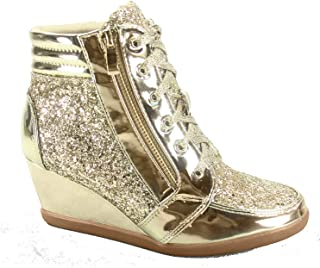 Forever Link Women's Peggy 44 Glitter Metallic Quilted Lace Up Low Top Fashion Sneaker