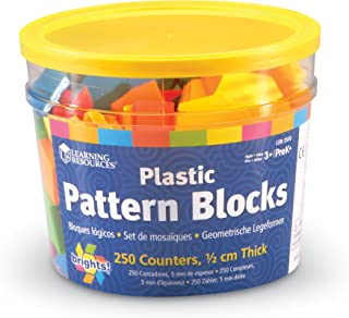 Learning Resources LER3550 Brights! Pattern Blocks Set,Multi-color,5""