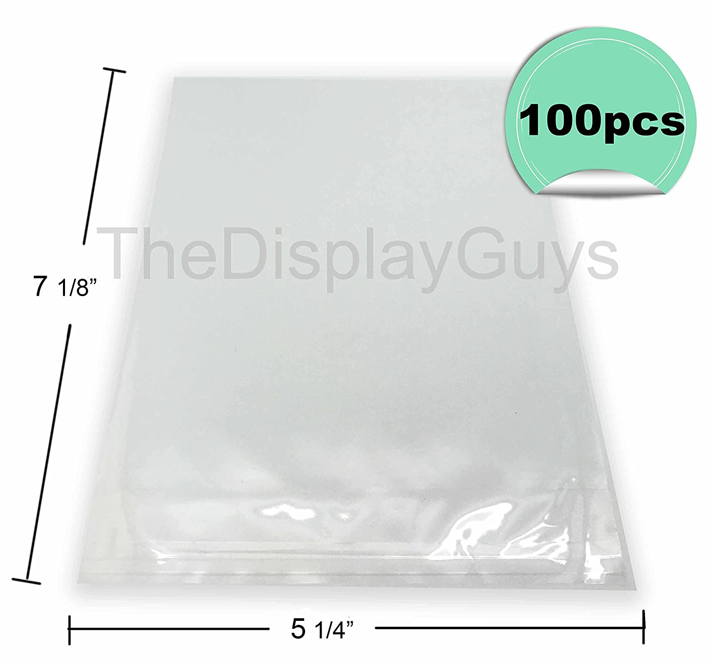 "The Display Guys, 100 Pcs 5 ?"" x 7 1/8"" Clear Self Adhesive Plastic Bags for 5"