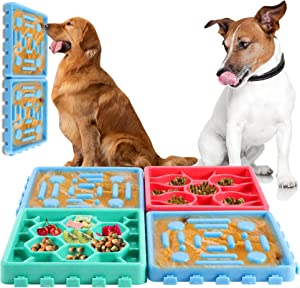 FiGoal 4 Pack Pet Snack Pad Dog & Puppies - Canine Slow Feeder Bowls for Dogs - Eating Control Dog Bowl - Slow Food Bowl - Maze Dog Bowl
