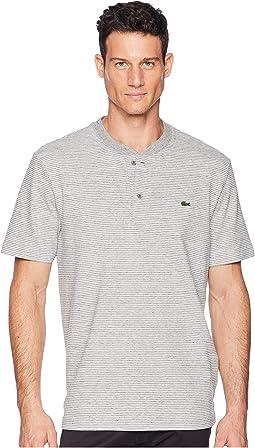 Short Sleeve Regular Fit Fine Stripe Henley