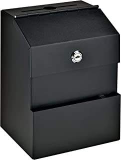 Comment Boss 8100 Locking Steel Suggestion Box - Key Drop Box - Collection Box - Donation Box - Ballot Box - with 25 Suggestion Cards (Black)