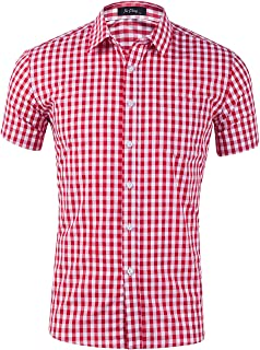 XI PENG Men's Casual Cotton Plaid Checkered Gingham Short Sleeve Dress Shirts