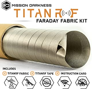 TitanRF Faraday Fabric - Pro Construction Kit - Military Grade Fabric Blocks RF Signals (WiFi, Cell, Bluetooth, etc.) - Dims: 44in W x 18ft L / 66 sq ft / 7.33 sq yds + Free 20ft L Conductive Tape