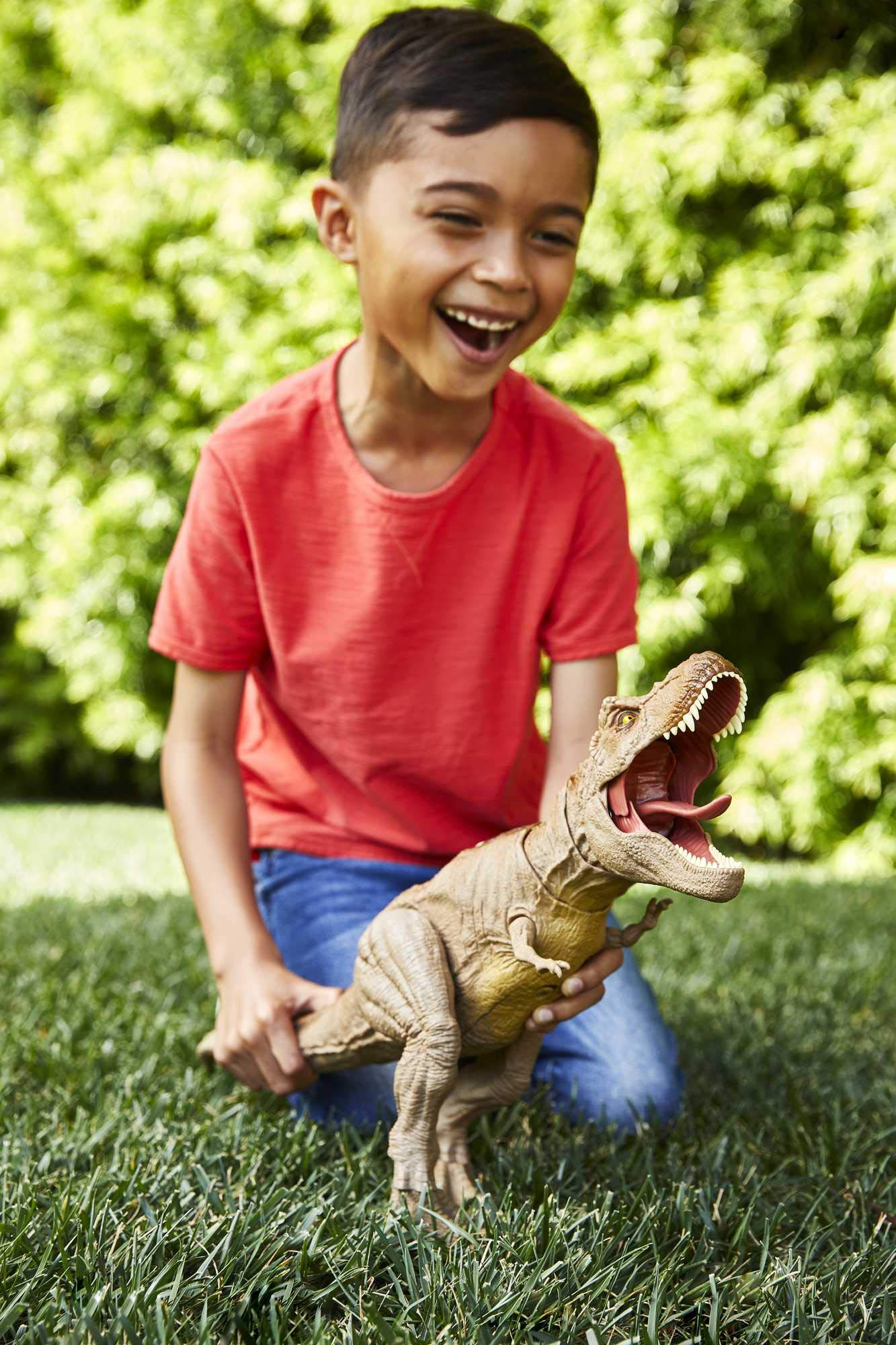 Jurassic World Epic Roarin' Tyrannosaurus Rex Large Action Figure with Primal Attack Feature, Sound, Realistic Shaking, Movable Joints; Ages 4 Years & Up