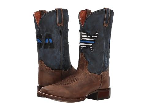 Dan Post Kids Boys Thin Blue Line Cowboy Boots Leather Sand//Blue