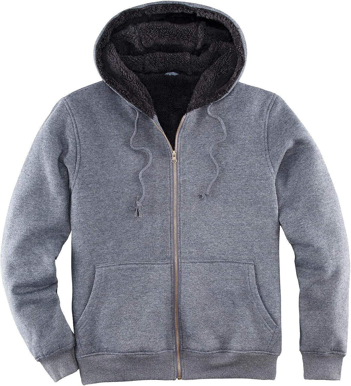 Men's Heavyweight Hooded Fleece Sweatshirt,Sherpa Lined Full Zip Hoodie Sweater Jackets