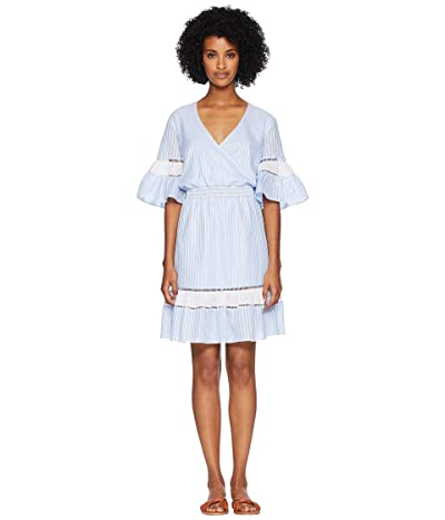 Jonathan Simkhai Striped Cotton Wrap Mini Dress Cover-Up (Chambray Combo) Women