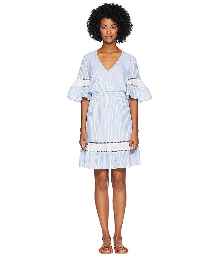 Jonathan Simkhai Striped Cotton Wrap Mini Dress Cover-Up (Chambray Combo) Women