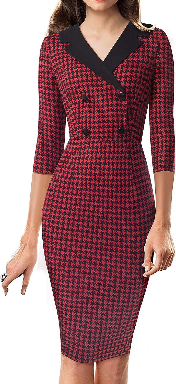 HOMEYEE Vintage V Neck Pattern Patchwork Business Party Women Dress B570