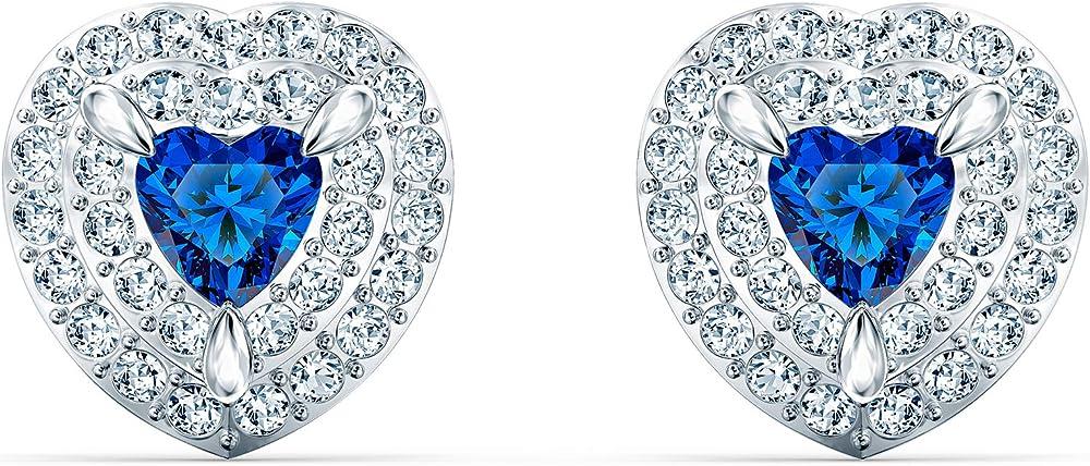Swarovski orecchini per donna stud one, azzurro, placcato rodio 5511685