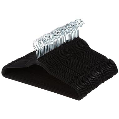 AmazonBasics Slim, Velvet, Non-Slip Clothes Suit Hangers, Black/Silver - Pack of 50