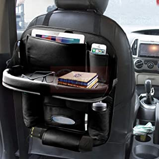CARMATE Universal PU Leather Car Back Seat Organiser with Foldable Dining Table Tray, Multi-Storage Bottle and Tissue Pape...