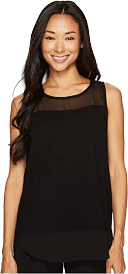 Vince Camuto Specialty Size - Petite Sleeveless Mix Media Top