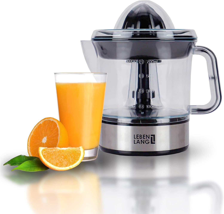 Exprimidor eléctrico automático para zumo de limón, naranja, frutas y alimentos | Jarra vaso y colador de plástico | Acero inoxidable | Para cocina de chef profesional | Limpia, fácil uso | LEBENLANG