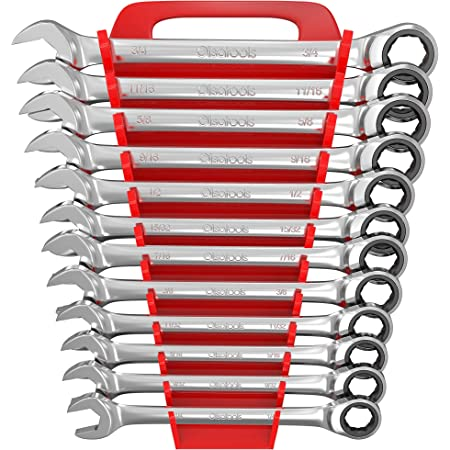 Set of 12 Combination Spanners with Articulated and Reversible Ratchet 191952 Alyco
