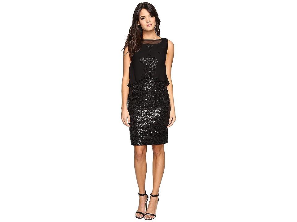 Ellen Tracy Sequin Dress w/ Removable Chiffon Layer (Black) Women