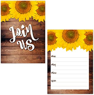 Rustic Sunflower on Barn Wood Design Fill in The Blank Party Invitations (20 Count with Envelopes) - Fall Autumn Invites - Baby Shower, Birthday, Bridal Shower, All Occasion