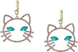 Pink Stone Open Cat Face Drop Earrings