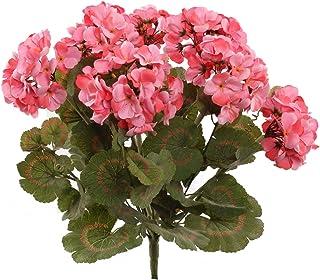 Larksilk Pink Artificial Geranium Flower Bush | UV Resistant Decorative Silk Artificial Plant Perfect for Outdoors or Indo...