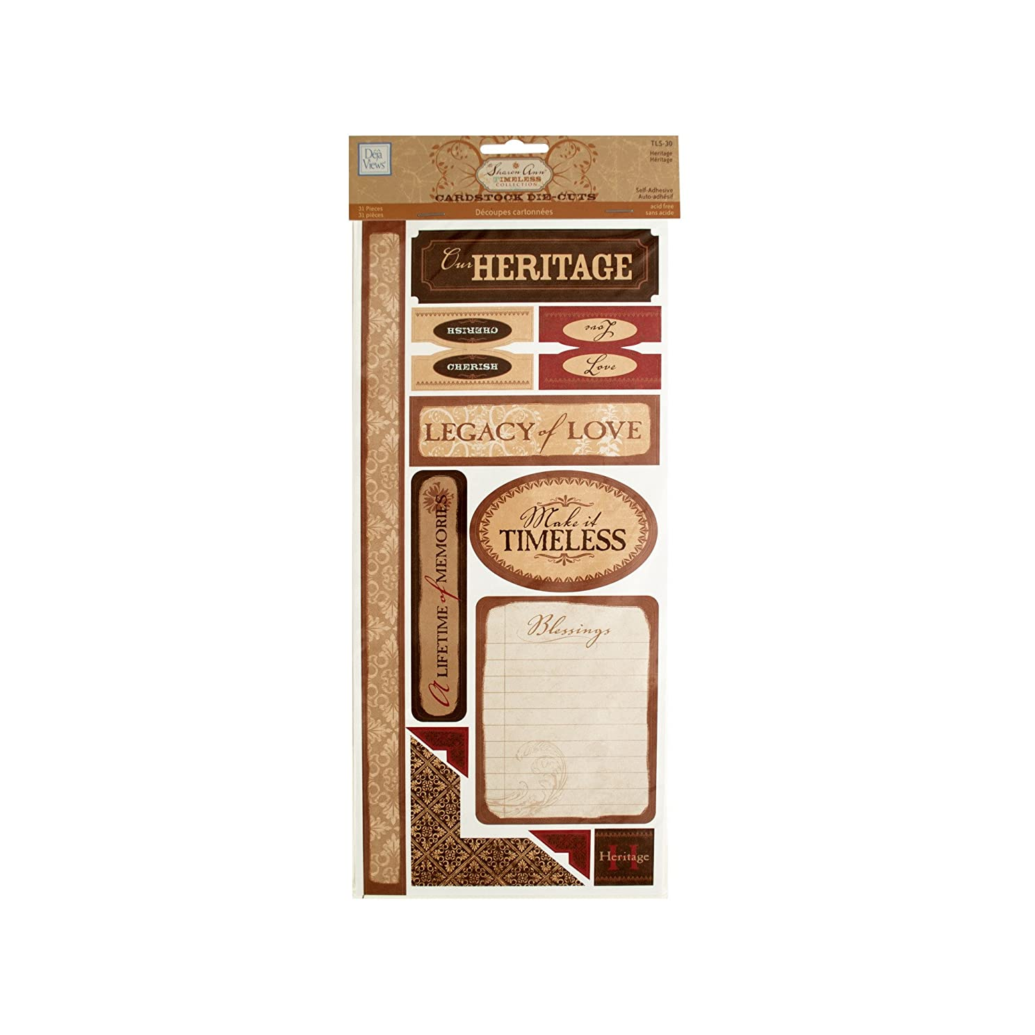 C-THRU Sharon Ann Timeless Cardstock Stickers 12 Inch by 6 Inch Sheet 2/Package, Heritage