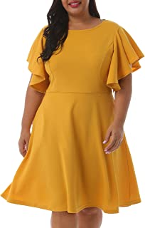 Best plus size yellow fit and flare dress Reviews