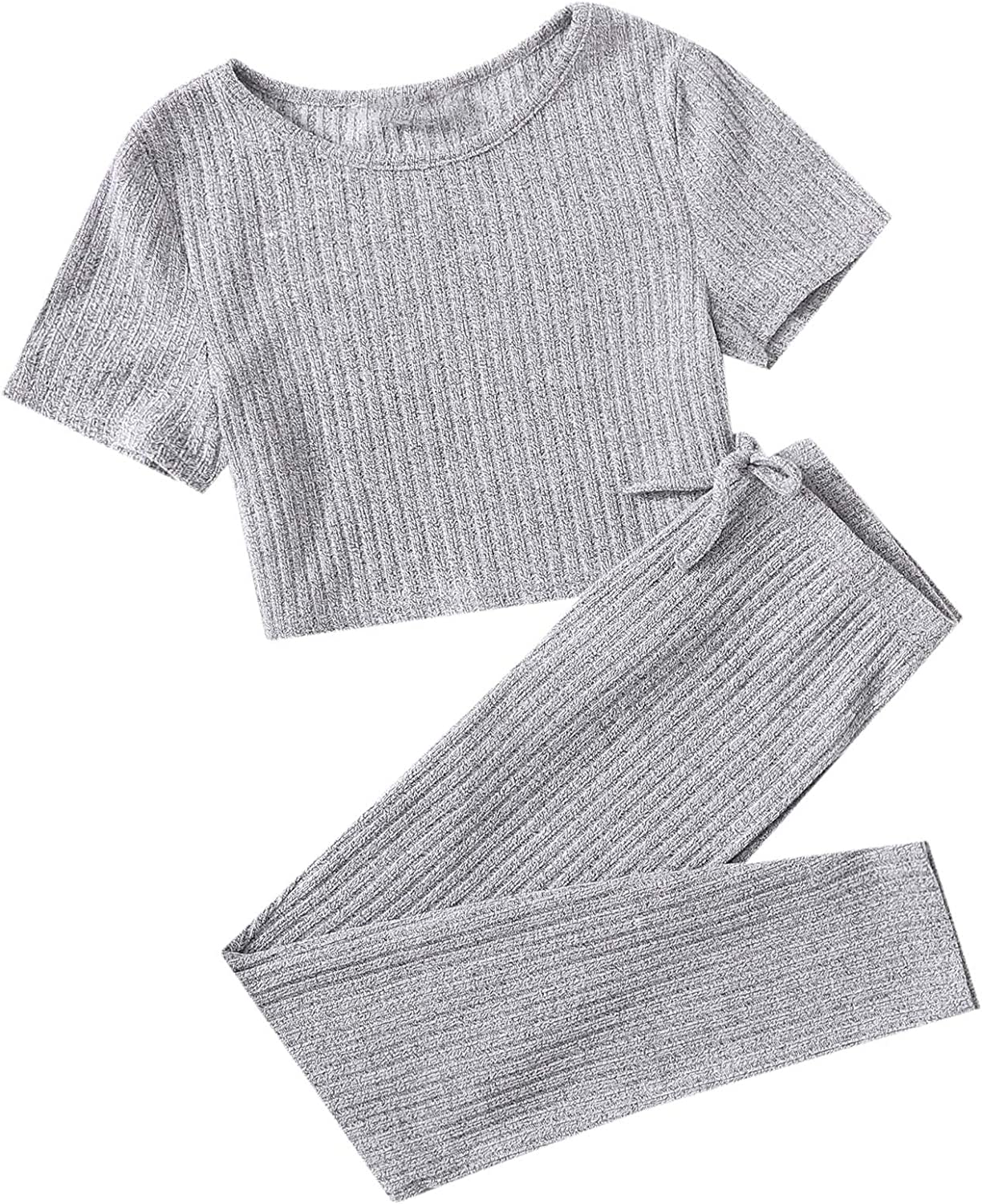 Romwe Girl's 2 Piece Outfit Fashion Ribbed Cro Knit New Shipping Free Workout Short Sleeve