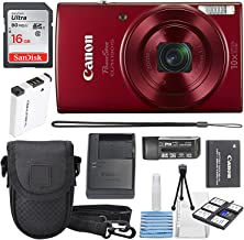 Canon PowerShot ELPH 190 IS Digital Camera (Red) with 10x Optical Zoom and Built-In Wi-Fi with 16GB SDHC + Replacement battery + Protective camera case Along with Deluxe Cleaning Bundle