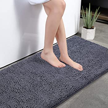 Amazon Com Kmat Bath Mat Rug Nonslip Plush Chenille Bathroom Mat Quick Absorbent 28 X 47 Grey Large Bath Rug For Bathroom Floor Tub Shower Bedroom Living Room Machine Washable Home Kitchen