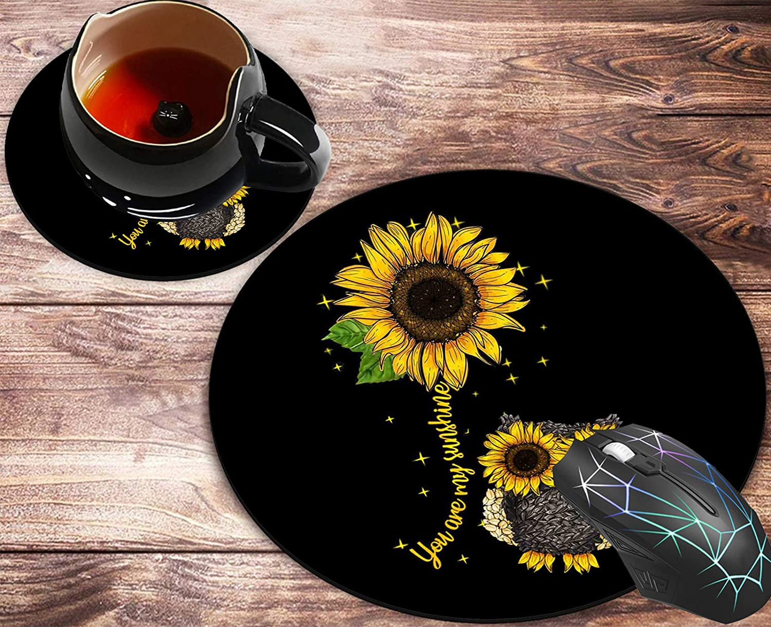 Round Limited price sale Mouse Pad and Coasters An Set Sunflower Mousepad Philadelphia Mall Owl