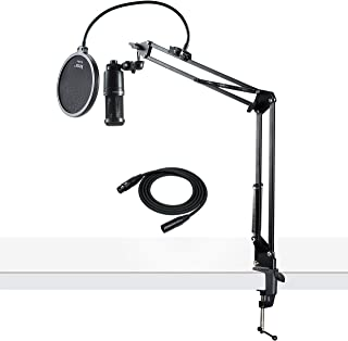 Audio-Technica AT2020 Condenser Studio Microphone with Knox Studio Stand, Pop Filter and XLR Cable Bundle (4 Items)